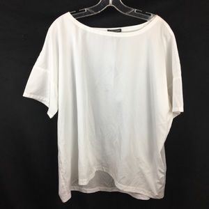 Eileen Fisher Ivory Bateau Neck Tee L New